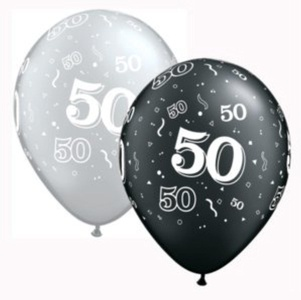 Qualatex 25 x 11 50th Birthday Latex Helium Balloons - Black/Silver - Decoration #201210 by Qualatex