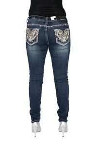 Grace in LA Women's Idol Jeans Western Rose Gold Embellished Skinny (31)