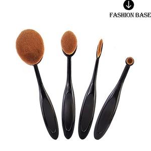 Fashion Base® 2016 New Professional 4pcs/set Tooth Brush Shape Oval Makeup Brush Set Professional Foundation Powder Brush Kits