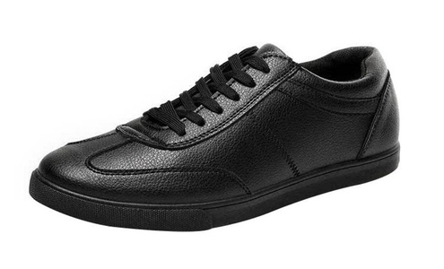 T&Grade Mens Fashion Casual PU Round Toe Rubber Sole Walking Comfortable Flat Board Sneakers(7.5 D(M) US, black)