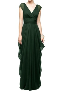 MILANO BRIDE Stunning Wedding Party Dress Prom Gown Double V-neck Ruffles Chiffon-20W-Dark Green