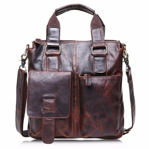 Compia Men's Buffalo Top Layer Crazy-Horse Genuine Cow Leather Retro Messenger Shoulder Laptop Bag Satchel Briefcase