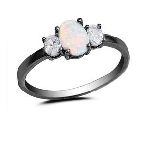 3 Stone Wedding Ring Lab Created White Opal Oval Cut And Clear CZ Black Gold Plated 925 Sterling Silver
