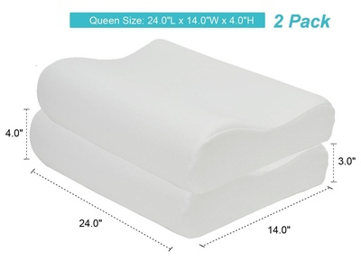 Dasein Premium Contour Memory Foam Pillow with Washable Fabric Cover - Queen Size 2 pack