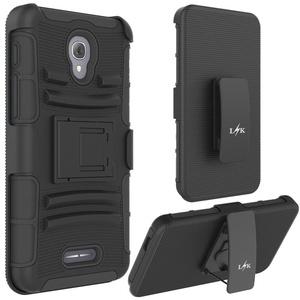 Alcatel Fierce 4 Case, LK [Heavy Duty] Black Armor Holster Defender Protective Hybrid Case Cover with Belt Clip for Alcatel Fierce 4