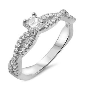 Solitaire Wedding Ring Clear Cubic Zirconia Infinity Band Sterling Silver Engagement Band Size 8