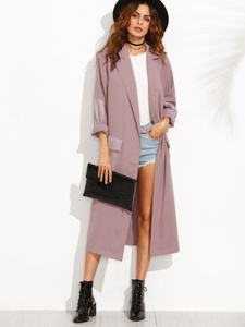 Purple Split Long Sleeve Outerwear