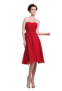 Angelia Bridal Women's Strapless Knee Length Sweetheart Chiffon Bridesmaid Dress (Size 4)