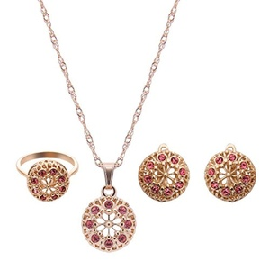 Luxury Jewelry Set Europe Crystal Jewelry Sets Wedding Accessories Wedding jewelry Earrings + necklace + ring (White)