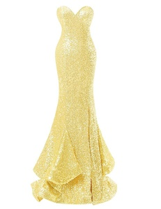 Bess Bridal Women's Sexy Sequined Mermaid Long Prom Gowns Evening Dresses US12 Daffodil