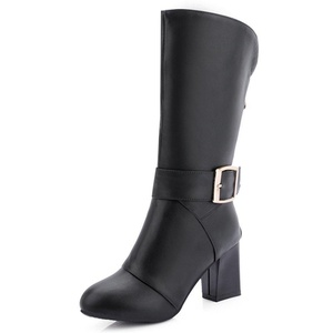 Fashion Heel Women's Chunky Heel Round Toe Buckle Mid Calf Boot Plus Size (7, black)