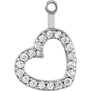 14kt White 1/5 CTW Diamond Heart Earring Jackets
