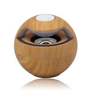 Pretty Handy Spherical Wood Grain Bluetooth Speaker Wireless Stereo Speaker Portable for Smartphone Tablet Notebook Xbox