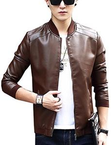 S&S Mens Solid Full Zip Leather Letterman Jacket Designer Leather Jacket