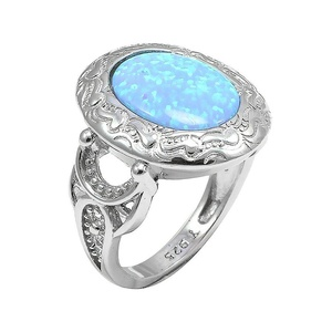 Unisex Engraved Halo Wedding Engagement Ring Oval Lab Created Light Blue Opal 925 Sterling Silver