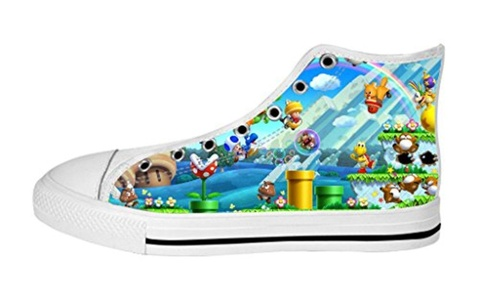 Women's High Top Full Canvas Upper Soft Inner Canvas Shoes Custom Super Mario Design