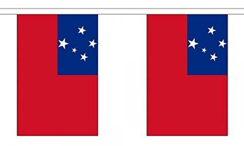 Samoa Bunting 9M Metre Length With 30 Flags 9X6 100% Woven Polyester by San Marino Crest