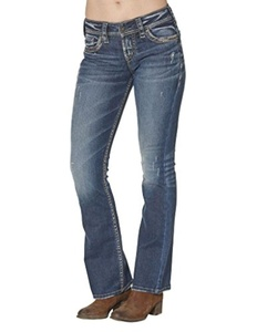 Silver Jeans Denim Womens Suki Bootcut 24 x 33 Dark Wash L93719SDI367