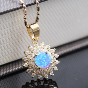 Round Sapphire Opal Jewelry Pendant 18K Gold Plated CZ Necklace Pendant