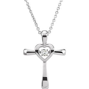 14kt White .08 CTW Diamond Heart Cross 18