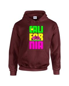 California Colorful Cali Bear Star Unisex Pullover Hoodie Hooded Sweatshirt(Maroon,Large)
