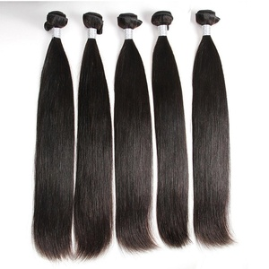 shuangya hair Grade 8A Brazilian Virgin Remy Hair Straight Weave 5 Bundles Natural Human Hair Extensions Black Color(16