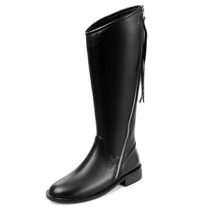 Nine Seven Leather Women's Round Toe Chunky Heel Zip Up Handmade Knee High Riding Boot (5.5, black)