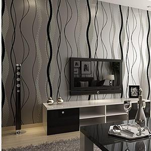 CCWY Minimalist modern multidimensional wavy stripes non-woven cloth wallpaper living room wall TV bedroom wallpaper