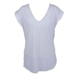 Black Tape By Dex Women's Cap Sleeve Blouse W/Tulle Trim Shirt White
