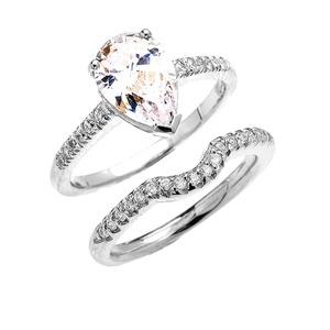 14k White Gold Dainty Diamond Wedding Ring Set with Pear Shape Cubic Zirconia Center Stone(Size 75)
