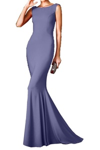 MILANO BRIDE Modern Sheath Backless Crystals Evening Dress Wedding Party Gown-12-Lavender