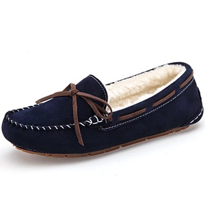 FLARUT Winter Women's Suede Faux Fur Lined Moccasin Slipper Driving Shoes Slip On Loafers(Darkblue,4.5 B(M) US Women/35 CN )