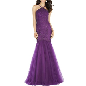 Beauty Bridal Women's Halter Lace Evening Gowns Mermaid Prom Party Dress Lang (14,Purple)