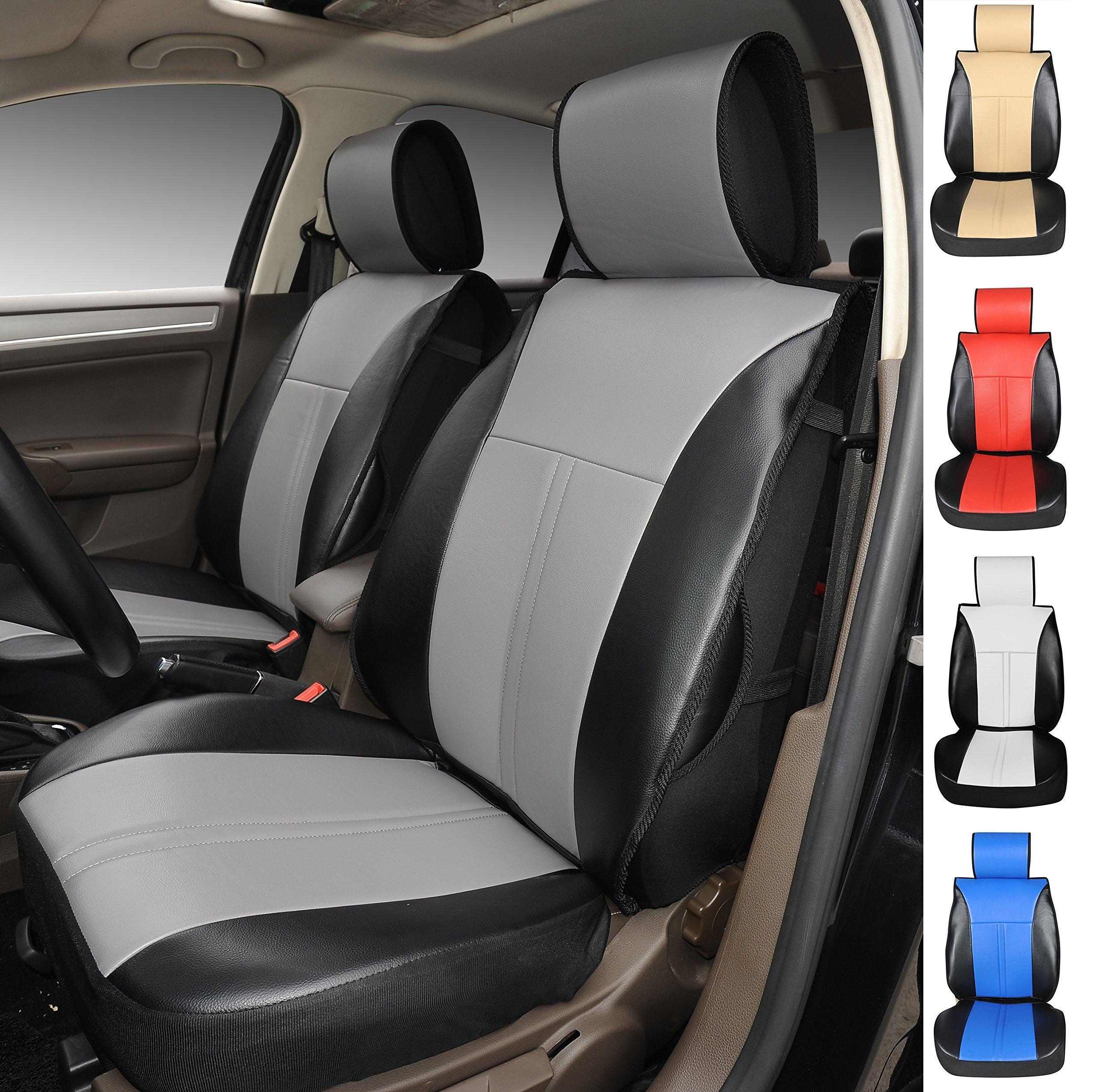 Online Store 120904s Black Grey 2 Front Car Seat Cover Cushions Leather Like Vinyl Compatible