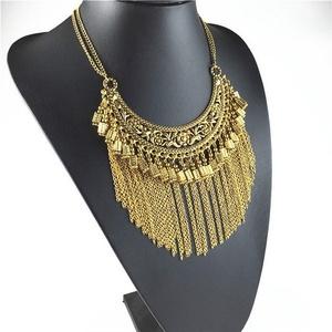 GDSTAR Maxi Necklace Vintage Long tassel Necklaces Pendants Choker Statement Necklace Fine Jewelry