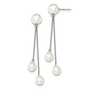 .925 Sterling Silver 6-9MM White Freshwater Cultured 3-Pearl Post Dangle Earrings