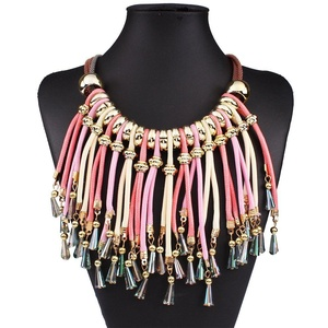 ARICO Koly Statement Multilayer Tassel Necklace Crystal Necklace Bohemian Boho Necklace Big Maxi Neckalce NB728