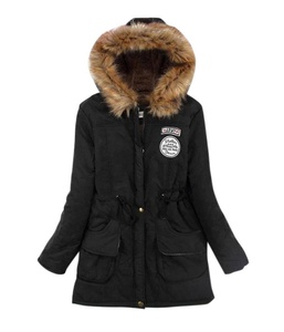 Creabygirls Womens Winter Warm Faux Fur Hooded Cotton-padded Coat Parka Long Jacket(X-Large(US4-6),Black)