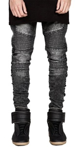 Digerla Men's Ripped Skinny Distressed Destroyed Holes Jeans Pants Trousers Grey