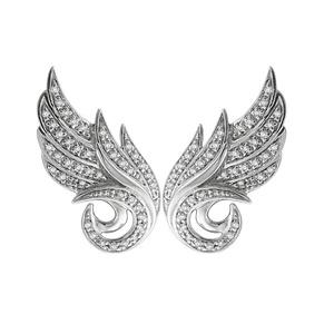 IGI Certified 10K White Gold Angel Feather White Diamond Earring (0.22 Carat)