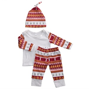 Baby Girls 3pcs Flowers Printing Long Sleeve T-shirt and Pants Outfit with Hat