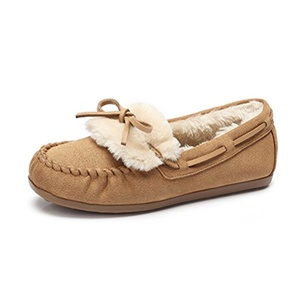 Camel Women's Fur Lined Warm Comfort Moccasin Loafer Slipper Color Brown Size 39 M EU