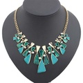 ARICO Crystal Multi Layer Necklace Gold Enamel Choker Necklace Vintage Statement Necklace NE284