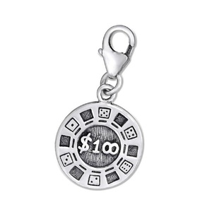 925 Solid Sterling Silver Clip-on Dangling $100 Poker Chip Charm Pendant
