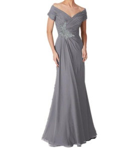 Winnie Bride Graceful Ruched Off-the-Shoulder Mother of the Bride Evening Dress-22W-Silver