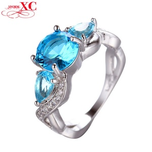 Cherryn Jewelry Elegant Ring /Men Engagement Band White Gold Filled Zircon Crystal Ring Fashion Jewelry RW1388