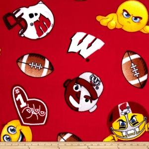 Collegiate Fleece University of Wisconsin Emojis Fabric By The Yard
