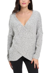 Dokotoo Womens Long Sleeve Chunky Cross Wrap V Neck Loose Tunic Pullover Sweater