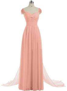 Gorgeous Bridal Long Trailing Cap Shoulder A-line Evening Wedding Party Dress- US Size 16