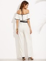 Black and White Halter Ruffle Jumpsuit